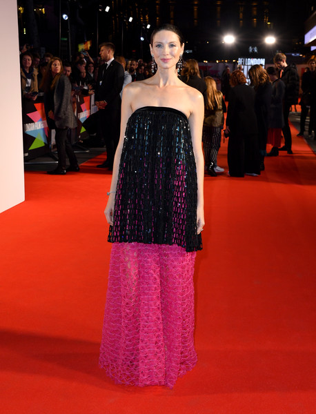 Caitriona Balfe Strapless Dress [fashion model,red carpet,clothing,fashion,carpet,dress,flooring,premiere,haute couture,shoulder,premiere,le mans,caitriona balfe,le mans 66,odeon luxe leicester square,london,england,bfi london film festival]