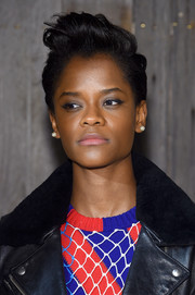 Letitia Wright rocked a mussed-up fauxhawk at the Calvin Klein fashion show.