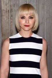 Christina Ricci was a cutie wearing this blonde bob with choppy bangs at the Calvin Klein fashion show.