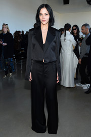 Leigh Lezark attended the Calvin Klein fashion show rocking an oversized black pantsuit.
