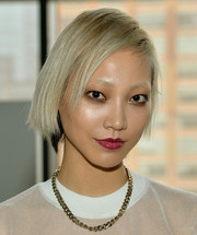 Soo Joo Park sported an edgy short side-parted 'do during the Calvin Klein fashion show.
