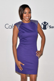 Alicia Quarles was edgy-sophisticated at the Calvin Klein Save the Children benefit in a purple sheath with studded shoulders.