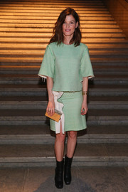 Hanneli Mustaparta chose a two-tone box clutch to top off her ensemble.