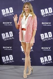 Cameron donned a soft red blazer over her summery ensemble for the 'Bad Teacher' premiere.
