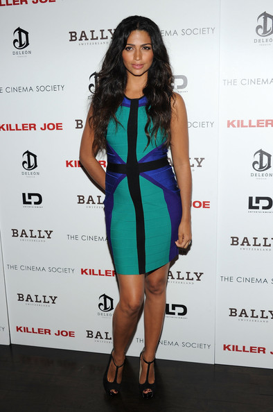 Camila Alves Bandage Dress [clothing,cocktail dress,fashion model,dress,shoulder,fashion,hairstyle,fashion design,cobalt blue,long hair,killer joe,inside arrivals,camila alves,screening,tribeca grand hotel - screening room,new york city,cinema society with bally deleon host a screening of ld entertainment,bally deleon]
