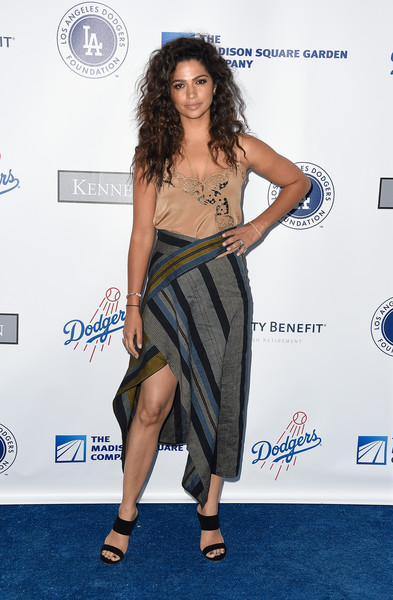 Camila Alves Strappy Sandals [clothing,dress,shoulder,fashion,carpet,red carpet,premiere,long hair,leg,footwear,arrivals,camila alves,los angeles,california,dodger stadium,los angeles dodgers foundation blue diamond gala]