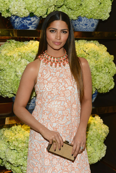 Camila Alves Beaded Statement Necklace [clothing,fashion,beauty,yellow,dress,floral design,long hair,haute couture,fashion design,floristry,camila alves,tory burch rodeo drive,beverly hills,california,tory burch,red carpet,tory burch rodeo drive flagship opening]