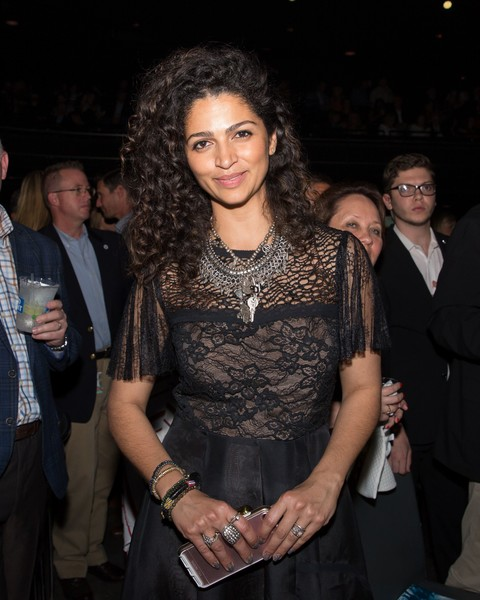 Camila Alves Silver Statement Necklace [photo,event,textile,dress,party,formal wear,fashion design,smile,trunk,nightclub,mack,jack mcconaughey gala,camila alves,suzanne cordeiro,acl live,money,austin,group,youth organizations]