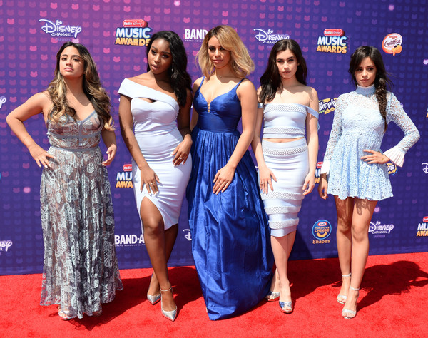 Camila Cabello Baby Doll Dress [carpet,red carpet,clothing,dress,event,flooring,premiere,fashion,long hair,fashion design,arrivals,artists,ally brooke,jane hansen,lauren jauregui,dinah,normani hamilton,camila cabello,l-r,radio disney music awards]