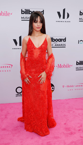 Camila Cabello Lace Dress [flooring,carpet,fashion model,red carpet,shoulder,gown,long hair,girl,cocktail dress,peach,virginia black,camila cabello,billboard music awards,las vegas,nevada,t-mobile arena,virginia black - red carpet]