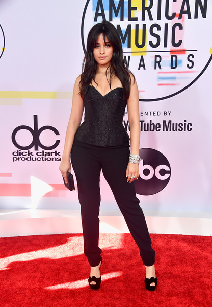 Camila Cabello Peep Toe Pumps [flooring,carpet,shoulder,red carpet,fashion model,long hair,joint,shoe,thigh,product,arrivals,camila cabello,american music awards,microsoft theater,los angeles,california]