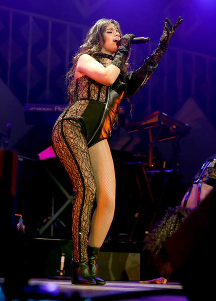 Camila Cabello Jumpsuit [performance,entertainment,music artist,performing arts,music,musician,stage,concert,thigh,singing,kiss fm,camila cabello,commercial use,dallas,texas,dickies arena,jingle ball 2019 - show]