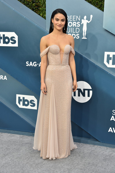 Camila Mendes Off-the-Shoulder Dress [dress,clothing,shoulder,gown,strapless dress,carpet,hairstyle,premiere,fashion model,lady,gown,carpet,dress,camila mendes,screen actors guild awards,screen actors\u00e2 guild awards,red carpet,celebrity,photography,red,celebrity,red carpet,cocktail dress,gown,socialite,supermodel,carpet,photo shoot,photography,red]