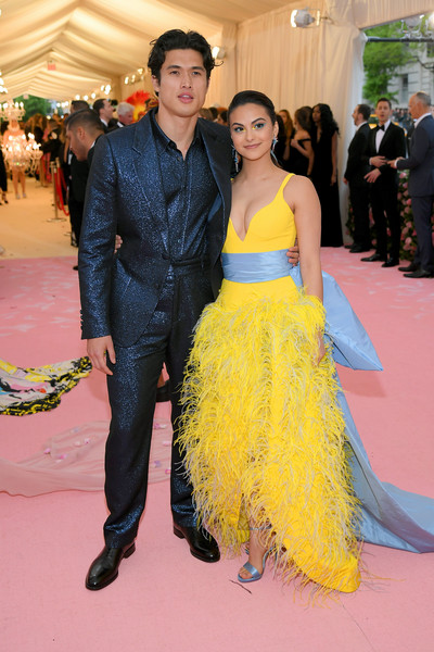 Camila Mendes Evening Sandals [yellow,carpet,red carpet,dress,premiere,fashion,event,flooring,gown,haute couture,fashion - arrivals,charles melton,camila mendes,notes,fashion,new york city,metropolitan museum of art,met gala celebrating camp]
