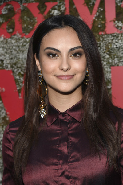 Camila Mendes Long Straight Cut [elizabeth debicki,2019 women in film max mara face of the future,max mara celebrates,camila mendes,hair,face,eyebrow,hairstyle,lip,beauty,pink,long hair,black hair,forehead,chateau marmont,california,los angeles]