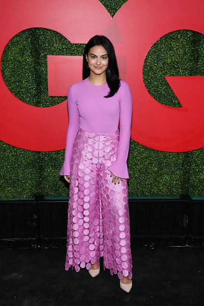 Camila Mendes Wide Leg Pants [pink,clothing,purple,green,red,magenta,dress,fashion,formal wear,textile,gq men of the year party,camila mendes,beverly hills,california,benedict estate,arrivals]