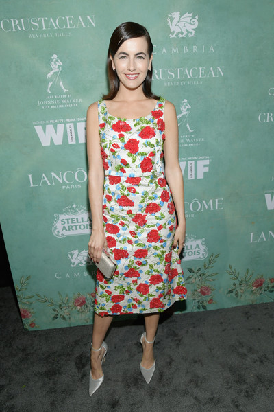 Camilla Belle Print Dress [women in film pre-oscar cocktail party,fashion model,flooring,dress,shoulder,carpet,fashion,cocktail dress,joint,red carpet,leg,11th annual women in film pre-oscar cocktail party,stella artois,johnnie walker,camilla belle,support,crustacean beverly hills,max mara,lancome,red carpet]