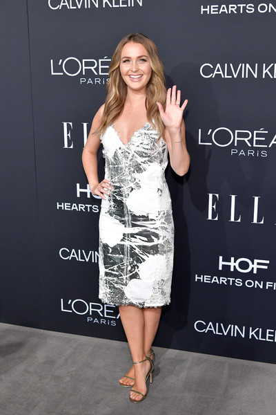 Camilla Luddington Print Dress [elle,hearts on fire,loreal paris,red carpet,clothing,dress,cocktail dress,premiere,fashion,footwear,fashion model,little black dress,flooring,style,los angeles,beverly hills,california,25th annual women in hollywood celebration,calvin klein,camilla luddington]