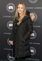 Harley Viera-Newton looked super toasty in a black down coat while attending the Canada Goose New York City flagship store opening.