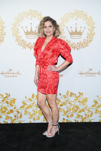Candace Cameron Bure Mini Dress [hallmark movies and mysteries - arrivals,clothing,fashion model,cocktail dress,dress,red,fashion,pink,shoulder,footwear,satin,candace cameron bure,pasadena,california,tournament house,hallmark channel,winter tca tour,hallmark movies and mysteries 2019 winter tca tour]