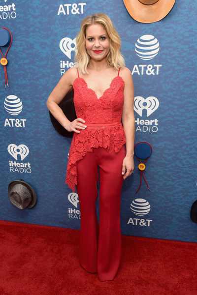 Candace Cameron Bure Wide Leg Pants [red carpet,clothing,red,carpet,electric blue,flooring,dress,premiere,waist,long hair,candace cameron bure,use,austin,texas,frank erwin center,at t,red carpet,iheartcountry festival]