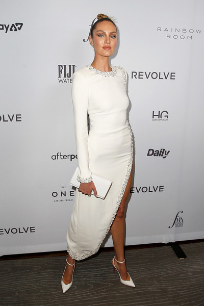 Candice Swanepoel Leather Clutch [white,clothing,shoulder,dress,cocktail dress,fashion,fashion model,joint,waist,footwear,candice swanepoel,2019 fashion media awards,new york city,the rainbow room,daily front row,the daily front row]