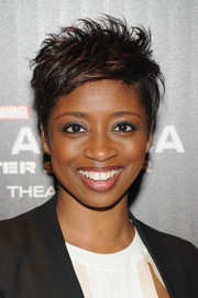 Montego Glover went punky with this spiked hairstyle at the NYC screening of 'Captain America: The Winter Soldier.'