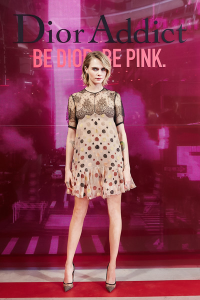 Cara Delevingne Baby Doll Dress [photographs,fashion model,clothing,fashion show,fashion,dress,pink,lady,fashion design,magenta,footwear,cara delevingne,tokyo,japan,dior addict stellar shine,launch]
