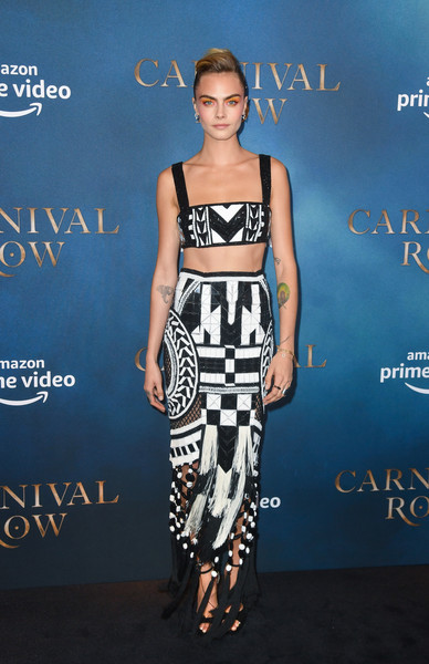 Cara Delevingne Fringed Skirt [series,amazon original,clothing,fashion,crop top,dress,fashion model,carpet,premiere,footwear,electric blue,shirt,red carpet arrivals,cara delevingne,carnival row,london,england,the ham yard hotel,screening,carnival row london screening]