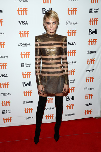 Cara Delevingne Mini Dress [clothing,carpet,shoulder,red carpet,fashion,cocktail dress,dress,premiere,joint,hairstyle,cara delevingne,her smell,toronto,canada,winter garden theatre,toronto international film festival,premiere]