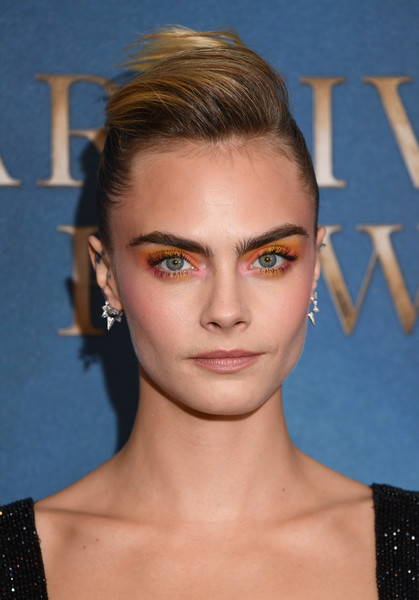 Cara Delevingne Bright Eyeshadow [series,amazon original,hair,face,eyebrow,hairstyle,chin,forehead,beauty,lip,cheek,blond,red carpet arrivals,cara delevingne,carnival row,london,england,the ham yard hotel,screening,carnival row london screening]