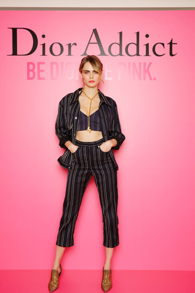 Cara Delevingne Pantsuit [photographs,clothing,fashion,pink,fashion model,fashion show,footwear,fashion design,runway,trousers,magenta,cara delevingne,tokyo,japan,dior addict stellar shine,launch]