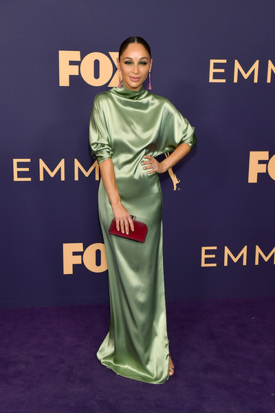 Cara Santana Hard Case Clutch [green,carpet,red carpet,premiere,flooring,dress,shoulder,fashion,joint,fashion design,arrivals,cara santana,emmy awards,microsoft theater,los angeles,california]