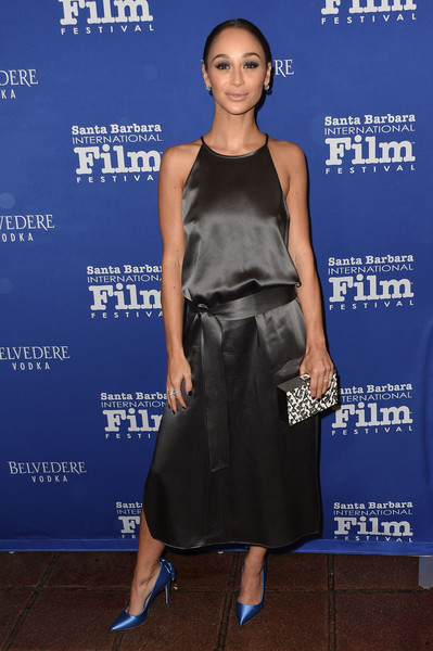 Cara Santana Cocktail Dress [sbiff outstanding performers of the year award,cara santana,emma stone,ryan gosling,clothing,dress,shoulder,cobalt blue,premiere,fashion,cocktail dress,electric blue,footwear,carpet,california,santa barbara,belvedere vodka]