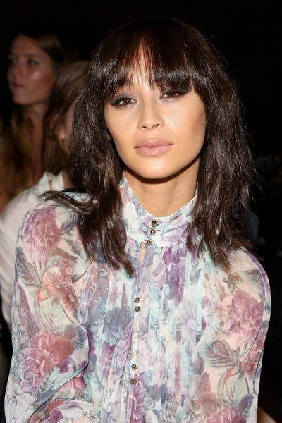 Cara Santana Medium Wavy Cut with Bangs