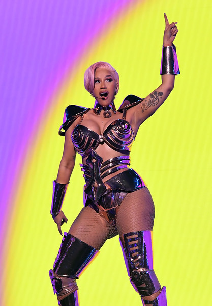 Cardi B Lingerie [image,latex clothing,purple,glove,latex,flash photography,gesture,thigh,entertainment,corset,waist,telecast,fetishism,latex clothing,purple,glove,los angeles,california,los angeles convention center,annual grammy awards,fetish model,character,costume,muscle,musician,fiction,performance m,latex,sexual fetishism]