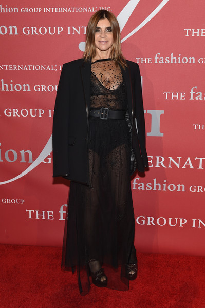 Carine Roitfeld Oversized Jacket [red carpet,carpet,clothing,formal wear,flooring,premiere,fashion,suit,dress,outerwear,arrivals,carine roitfeld,new york city,cipriani wall street,fashion group international night of stars gala,2016 fashion group international night of stars gala]