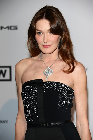 Carla Bruni-Sarkozy Gemstone Pendant [bold films,hair,clothing,hairstyle,dress,beauty,waist,lip,fashion,shoulder,long hair,arrivals,carla bruni-sarkozy,worldview,france,cap dantibes,hotel du cap-eden-roc,amfar,bvlgari,cinema against aids gala]