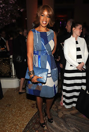 Gayle King looked lovely in this print patchwork dress at the Carnegie Hall Excellence Gala.
