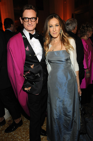 Forever the fashionable gentleman, Hamish Bowles was decked out in this embroidered butterfly suit at the Carnegie Hall gala.