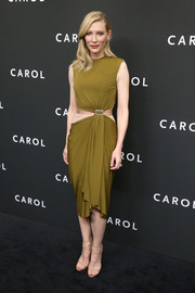 Cate Blanchett looked divine at the New York premiere of 'Carol' wearing this draped olive-green cutout-effect dress by Lanvin.