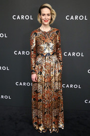 Sarah Paulson made a grand entrance in a fully sequined Etro gown at the New York premiere of 'Carol.'