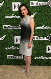 Joyce F. Brown kept it classy in a silver and black cocktail dress during the Couture Council Award luncheon.