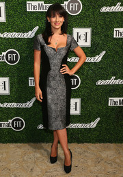 Hilaria Baldwin kept it classy in a gray and black sheath dress during the Couture Council Award luncheon.