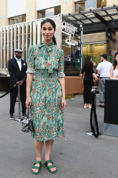 Caroline Issa Print Dress [street fashion,clothing,fashion,dress,footwear,fashion design,architecture,street,haute couture,shoe,andreas murkudis,caroline issa,berlin,germany,birkenstock box launch]