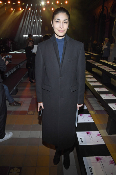 Caroline Issa Wool Coat [suit,clothing,formal wear,tuxedo,fashion,blazer,outerwear,event,pantsuit,white-collar worker,sonia rykiel,caroline issa,front row,part,paris,france,paris fashion week womenswear fall]