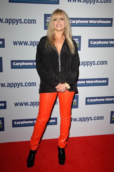 Jo donned a pair of racy red leather pants to attend the 2012 Appy Awards in London.