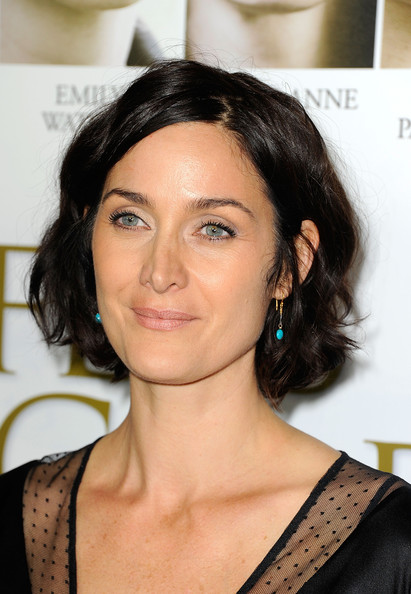 Carrie-Anne Moss Curled Out Bob [fireflies in the garden,hair,face,eyebrow,hairstyle,chin,shoulder,skin,black hair,beauty,lip,carrie-anne moss,arrivals,pemiere,california,los angeles,pacific theaters,grove,premiere]