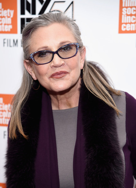 Carrie Fisher Half Up Half Down [bright lights,photo,eyewear,hair,glasses,hairstyle,lip,vision care,sunglasses,long hair,brown hair,hair coloring,carrie fisher,photo call,new york city,cal,new york film festival]