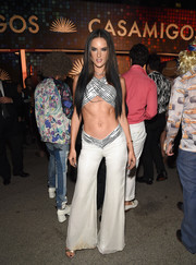 Alessandra Ambrosio was a dead ringer for Cher with her crossover crop-top and long straight tresses at the Casamigos Halloween party.
